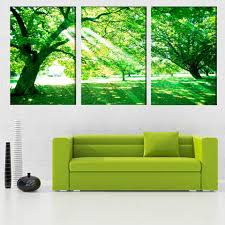 Canvas Print Painting <b>Modular Pictures</b> Frame 3 Panel Green Tree ...