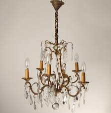 antique brass chandelier with crystals