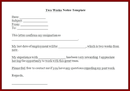 One Week Notice Resignation Letter Formal Resignation Letter With 2 Weeks Notice Standard