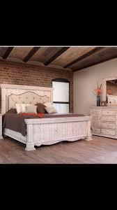 Farmhouse tufted bedroom set #distressed white #tufted headboard ...