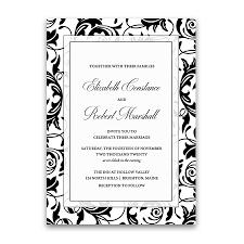Black And White Invitation Paper Damask Wedding Invitations Elegant Formal Black And White