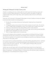 Photographer Job Description Template Profile Photography
