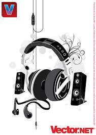 speakers music. free music headphone \u0026 speakers vector illustration