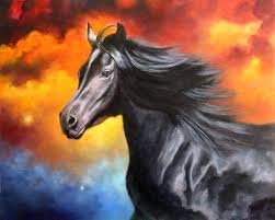 horse painting on canvas canvas sold a black thunder x oil on wild horse painting canvas horse painting on canvas
