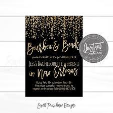 Bourbon And Beads Bachelorette Party Invitation Mardi Gras