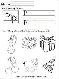 Letter blending + sight words + phonics | reading lessons for kids. Free Beginning Sounds Worksheet Letter P Free4classrooms