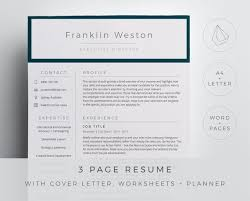 Executive Director Resume Template For Word And Pages In A Simple And Professional Design 3 Page Resume Cover Letter References Icons