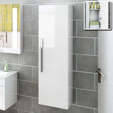 Beach Wall Mount Tall Grey Bathroom Cabinet In White Gloss tall