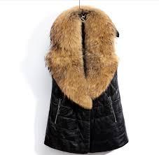 plus size 3xl women leather vest faux fur collar waistcoats long sleevelessnew winter jackets coats pocket colete feminino