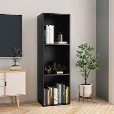 "OWSOO <b>Book Cabinet/TV Cabinet Black</b> 14.2""x11.8""x44.9"" Chipboard"