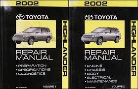 2002 toyota highlander wiring diagram manual original 2002 toyota highlander repair shop manual original set 139 00