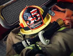custom leather fire helmet shields front and radio straps order today