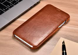 icarer iphone xs max curved edge vintage side open genuine leather folio case