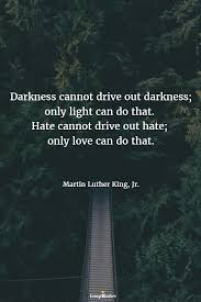 Darkness Cannot Drive Out Darkness Only Light Can Do That Hate