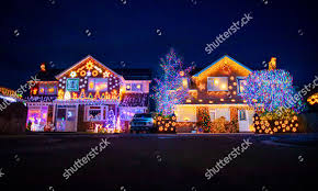 Christmas Light Contest 2018 Christmas Lights Displayed On Houses Trinity Close Editorial