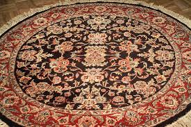 persian kashan 5 5 round hand knotted wool area rug black burdy