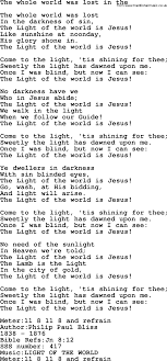 The Light Of The World Is Jesus Lyrics Sacred Songs And Solos Complete Words Version Song The