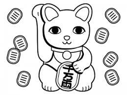 招き猫と小判のぬりえ線画イラスト素材 イラスト無料かわいい