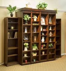 queen size bi fold bookcase wallbed in alder wood with mocha nut finish
