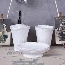 bath set bathroom set white shabby chic dispenser cup tooth mug