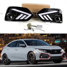 2008 Honda Civic Daytime Running Lights Us 109 99 July King Led Daytime Running Lights Case For Honda Civic 10th Hatchback 2017 2019 Led Front Bumper Drl Yellow Turn Signals In Car