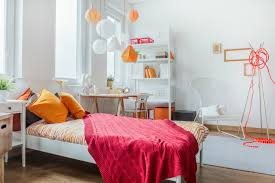 Bedroom Decorated With Orange And Pink Decor With Simple Pink Bedroom