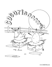 Cock And Hen Coloring Page Cute