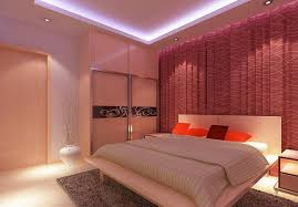 Awesome Warm Bedroom Wall Curtains Night Rendering