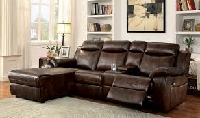 Hardy Transitional Style Brown Leatherette Sofa Recliner Sectional W Cup  Holders U0026 Storage Recliner With Cup Holder And Storage60