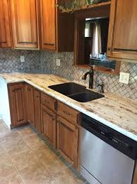 River Gold Formica Countertops With Tyvarian Tile Backsplash My