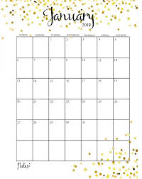 Cute 2019 Monthly Calendar Printable Template With Holidays