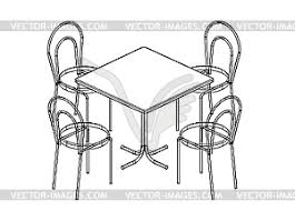 kitchen table clipart black and white. dining table and chairs - vector clipart kitchen black white a