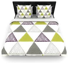 laurie baars textured triangles green gray white cotton duvet cover