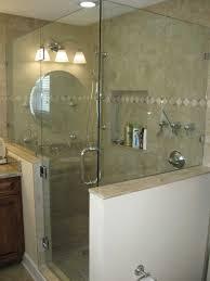 Glass Shower Doors Frameless   Frameless Shower, Door Hinged Off Knee Wall  \u0026 Panel Pinterest