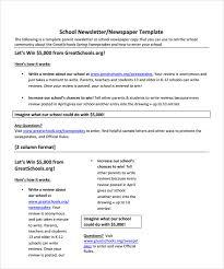 sample school newspaper documents in pdf word school newspaper template example