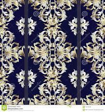 Gestreept Uitstekend Barok Patroon Donkerblauwe Achtergrond Vector