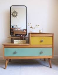 table vanity mirror. fantastic retro wooden dressing table vintage coloured drawers 50s 60s vanity mirror r