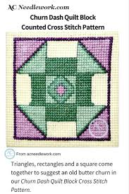 13 best Quilt Block Collection - AC Needlework images on Pinterest ... & Triangles, rectangles and a square come together to suggest an old butter  churn in this churn dash quilt block cross stitch pattern Adamdwight.com
