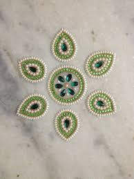 Kundan Rangoli Designs Small Leaves Shape Kundan Rangoli Desigsn Rangoli Designs