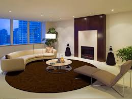 living room with round area rug