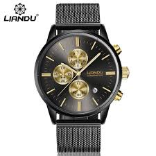 <b>LIANDU Fashion Men's</b> Luxury Chronograph Luminous Black ...