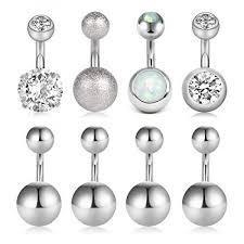 Body Jewelry Gauge Conversion Chart Zolure 14g Belly Button Rings Cz Opal Navel Rings Stainless