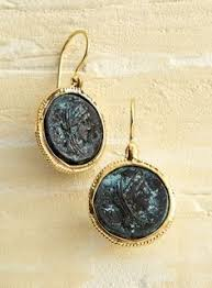 bronze ceasar coin earrings italian trunk show handcrafted in renaissance master michelangelo s birthplace of arezzo tuscany where the picturesque