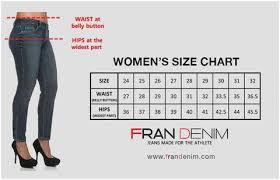 Jean Waist Size Chart 2019