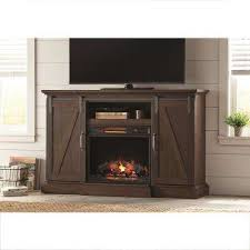 tv stand electric fireplace with sliding barn door in rustic brown