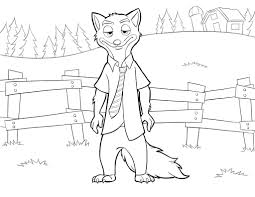 Disney S Zootopianick Wilde Coloring Page