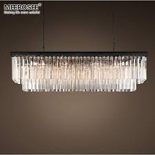 modern crystal pendant light fixture rectangle crystal hanging lamp popular crystal drop lamparas lving room hotel project cafe large pendant contemporary