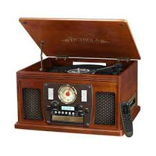 7 in 1 bluetooth record player with usb recording in mahogany