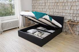 details about storage ottoman gas lift double or king size leather beds memory foam mattress