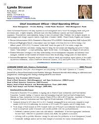 Resume Samples Chief Investment Officer Investment Bank